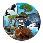 Natures Ninjas In The Seasons Round Car Magnet