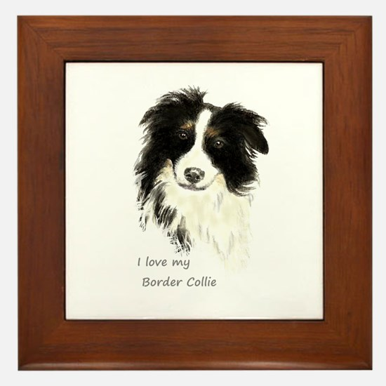 I Love My Border Collie Pet Dog Framed Tile