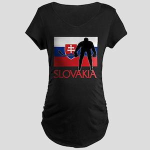 Slovakia Flag Hokey Maternity T-Shirt