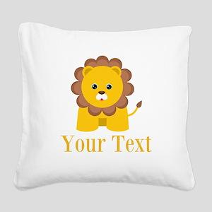 Personalizable Little Lion Square Canvas Pillow