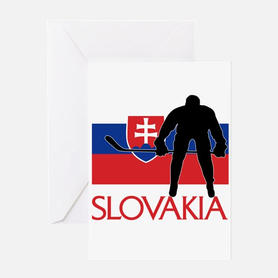 Slovakia Flag Hokey Greeting Cards