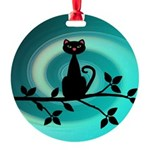Black Cat on Branch Wave Ornament