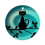 Black Cat on Branch Wave Ornament (Round)