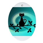 Black Cat on Branch Wave Ornament (Oval)