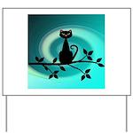 Black Cat on Branch Wave Yard Sign