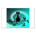 Black Cat on Branch Wave Sticker