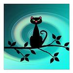 Black Cat on Branch Wave Square Car Magnet 3
