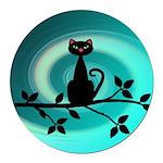 Black Cat on Branch Wave Round Car Magnet