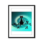 Black Cat on Branch Wave Framed Panel Print