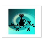 Black Cat on Branch Wave Posters