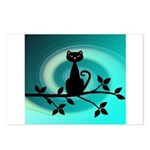 Black Cat on Branch Wave Postcards (Package of 8)