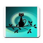 Black Cat on Branch Wave Mousepad