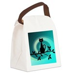 Black Cat on Branch Wave Canvas Lunch Bag