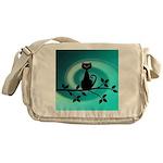 Black Cat on Branch Wave Messenger Bag