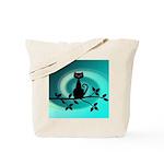 Black Cat on Branch Wave Tote Bag