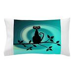 Black Cat on Branch Wave Pillow Case