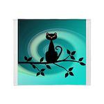 Black Cat on Branch Wave Throw Blanket