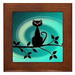 Black Cat on Branch Wave Framed Tile