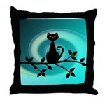 Black Cat on Branch Wave Throw Pillow