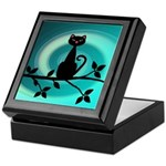 Black Cat on Branch Wave Keepsake Box