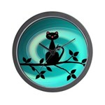 Black Cat on Branch Wave Wall Clock