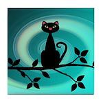Black Cat on Branch Wave Tile Coaster