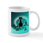 Black Cat on Branch Wave Mugs