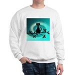 Black Cat on Branch Wave Sweatshirt