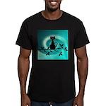 Black Cat on Branch Wave T-Shirt