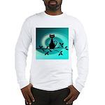 Black Cat on Branch Wave Long Sleeve T-Shirt