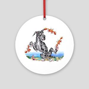 Great Dane Merle Crabby Ornament (Round)