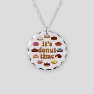 It's Donut Time Necklace Circle Charm