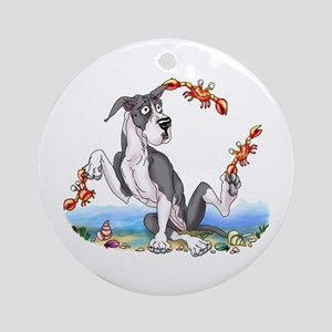 Great Dane Mantle Crabby Ornament (Round)