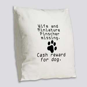 Wife And Miniature Pinscher Missing Burlap Throw P