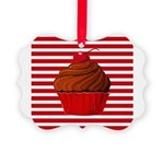 Red Brown Cupcake Stripes Ornament