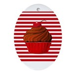 Red Brown Cupcake Stripes Ornament (Oval)