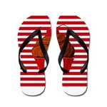 Red Brown Cupcake Stripes Flip Flops