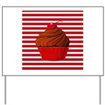 Red Brown Cupcake Stripes Yard Sign