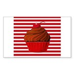 Red Brown Cupcake Stripes Sticker