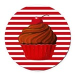 Red Brown Cupcake Stripes Round Car Magnet