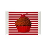 Red Brown Cupcake Stripes Magnets