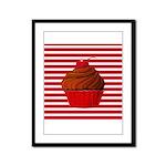 Red Brown Cupcake Stripes Framed Panel Print
