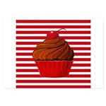 Red Brown Cupcake Stripes Invitations