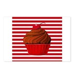 Red Brown Cupcake Stripes Postcards (Package of 8)