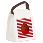 Red Brown Cupcake Stripes Canvas Lunch Bag