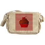 Red Brown Cupcake Stripes Messenger Bag