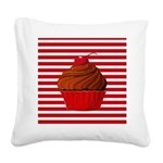Red Brown Cupcake Stripes Square Canvas Pillow