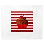 Red Brown Cupcake Stripes King Duvet