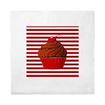 Red Brown Cupcake Stripes Queen Duvet