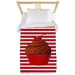 Red Brown Cupcake Stripes Twin Duvet